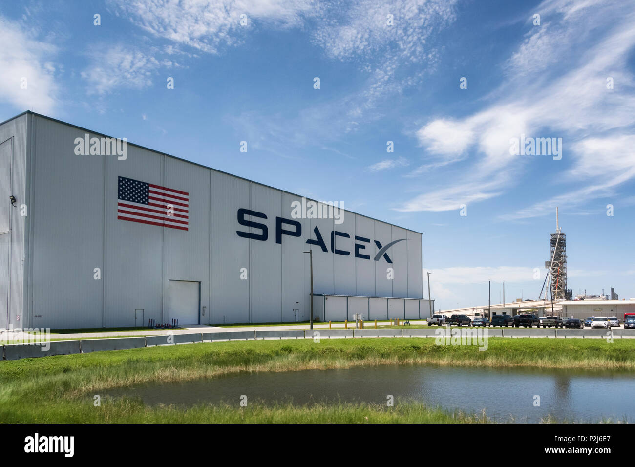 Cape Canaveral, Florida, USA - June 12, 2018: Space X launch pad in Kennedy Space Center - Stock Image
