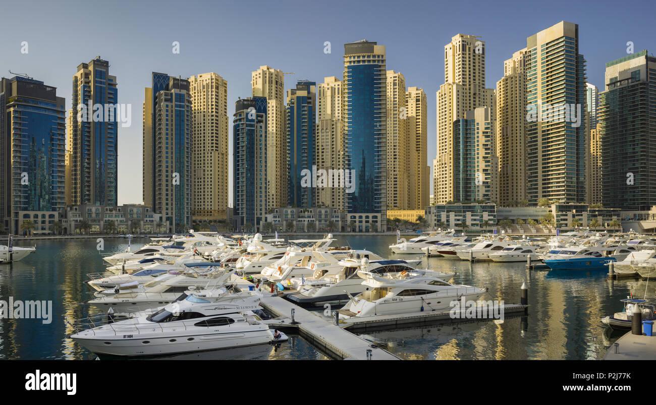 Skyscrapers in Dubai Marina, Dubai, Unites Arab Emirates, UAE - Stock Image
