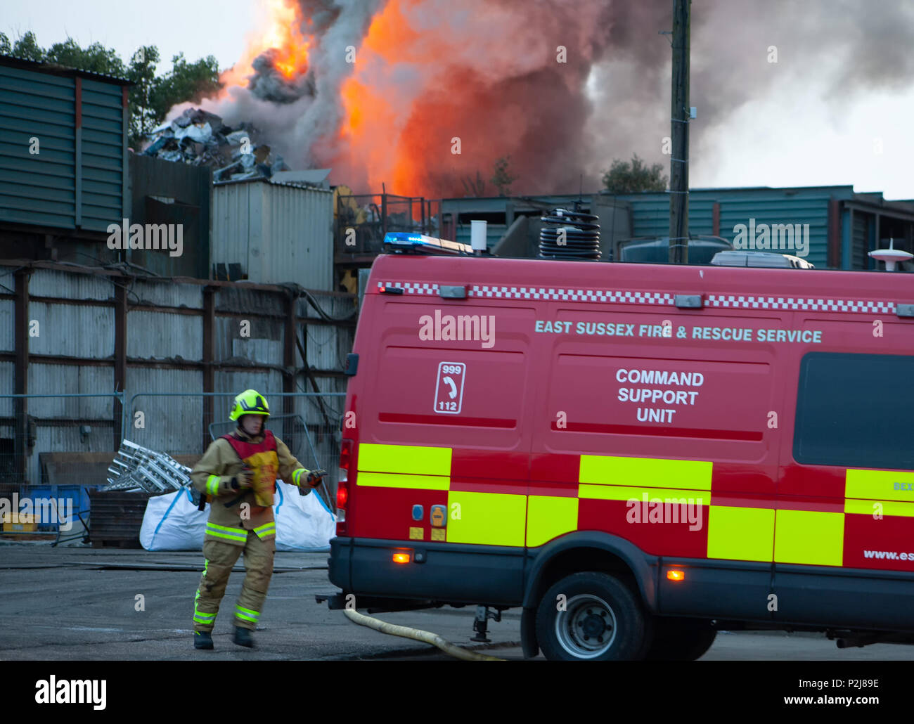 Hailsham Sussex UK, June 13th 2018: Fire command vehicle arrives at a large fire at Ripleys scrap yard in Hailsham. Stock Photo