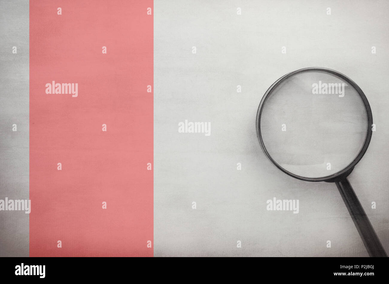 big magnifying glass on a blank surface - directly above view - Stock Image