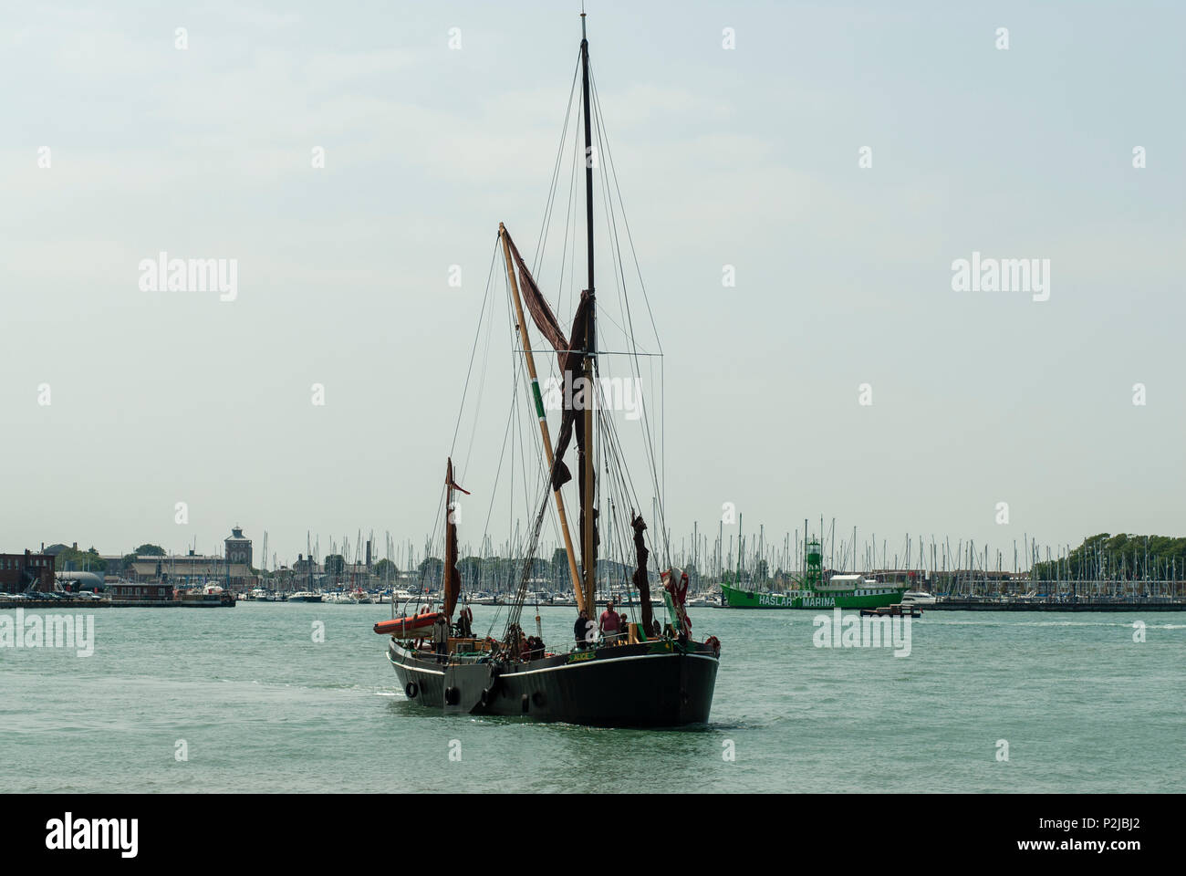 View of an old Thames barge, Gunwharf Quays, Portsmouth, UK Stock Photo
