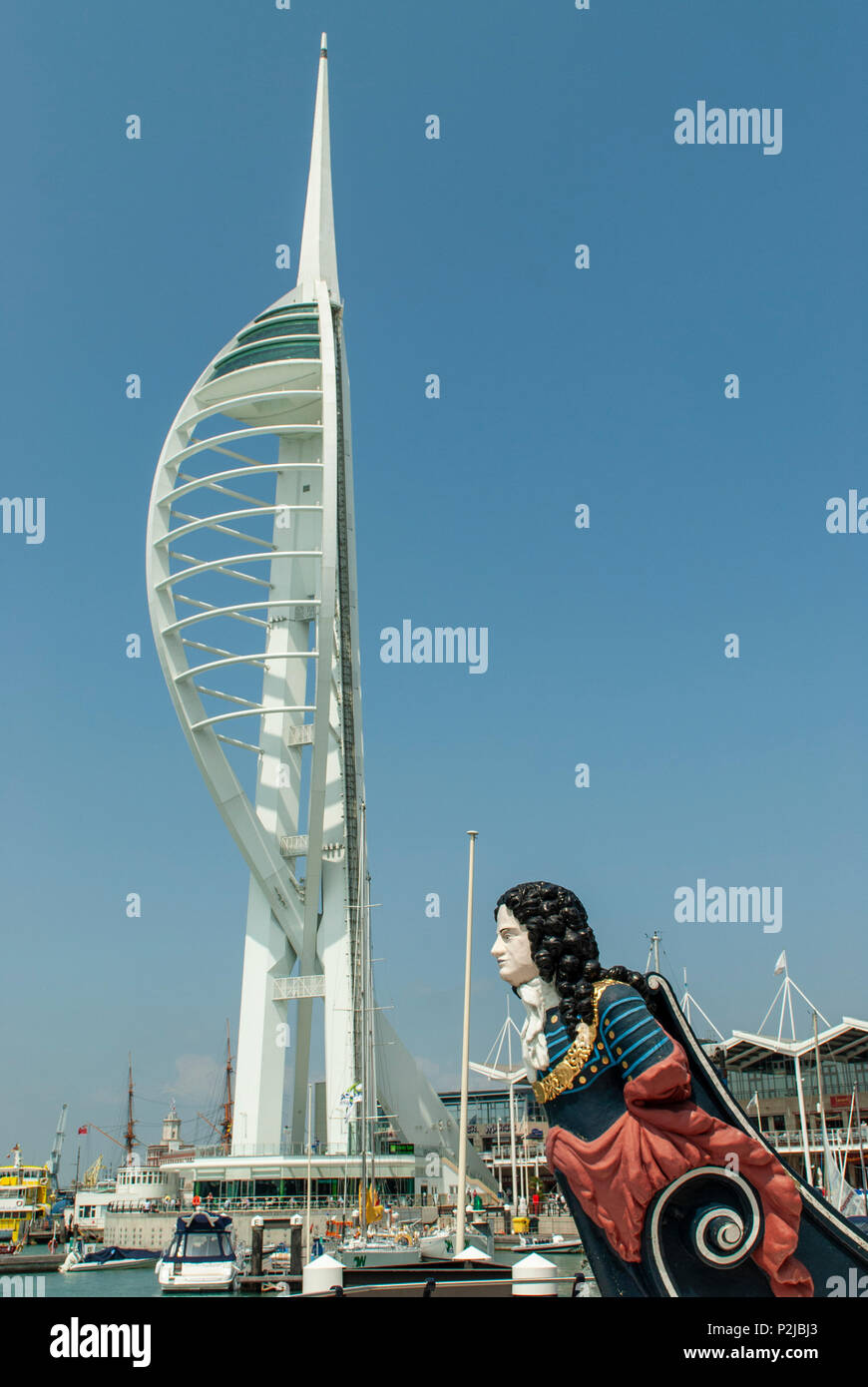 View of Spinnaker Tower with an old ships figurehead from HMS MARLBOROUGH representing the Duke of Marlborough, Gunwharf Quays, Portsmouth, UK Stock Photo