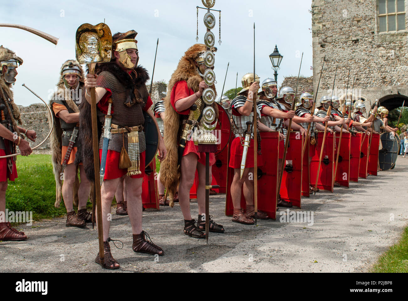 Romans in Britain! Re-enactment soldiers at Portchester Castle, Hampshire, UK - Stock Image