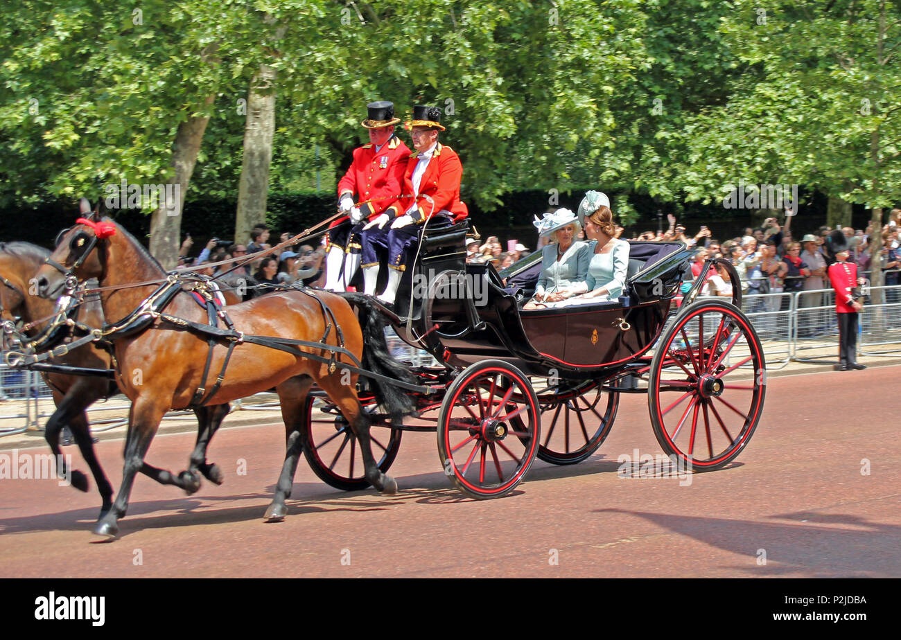 Kate Middleton, London, UK - 06/12 /2018: Kate Middleton & Camilla Parker Bowles, Trooping the colour royal family in carriages ride along mall London Stock Photo