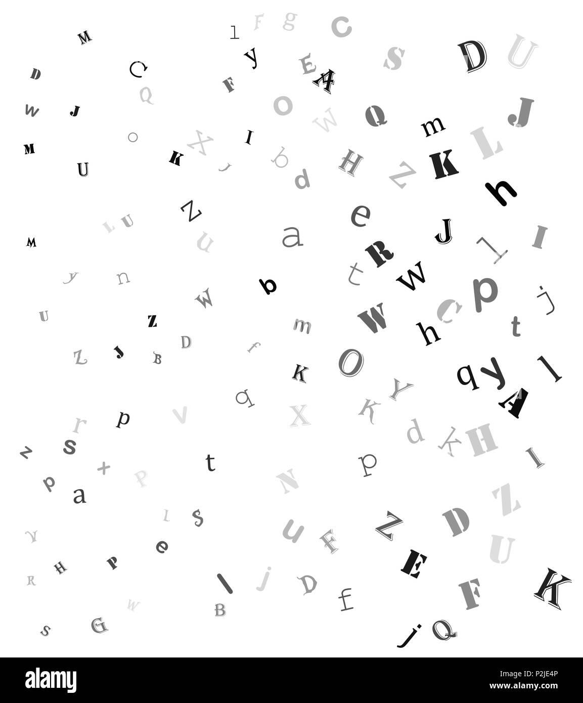 Falling Random Letters Alphabet Beautiful Background Design Stock