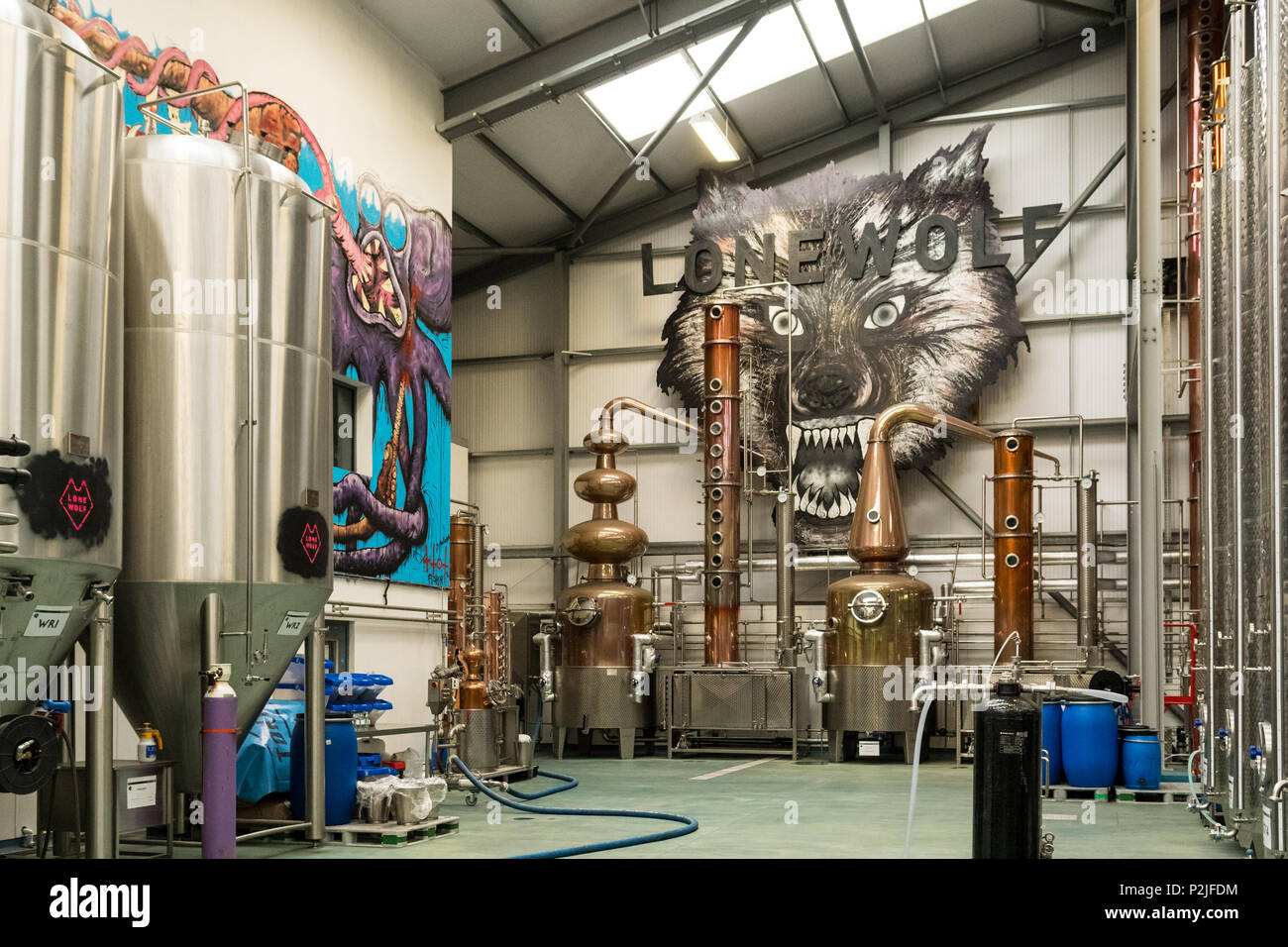 Lone Wolf gin distillery at Brewdog distillery, Ellon, Aberdeenshire, scotland, UK - Stock Image