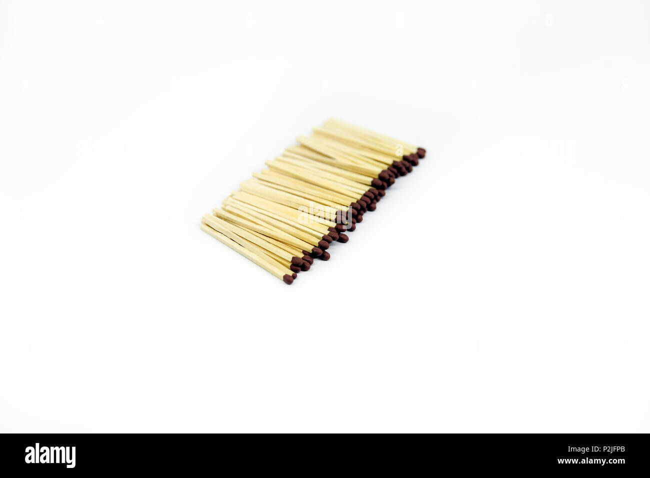 Brown New Matches ordered isolated on white background - Stock Image