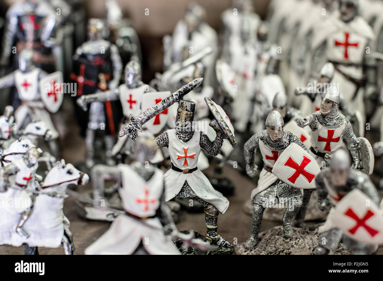 Obidos, Portugal - May 18, 2018: A collection of toy knights