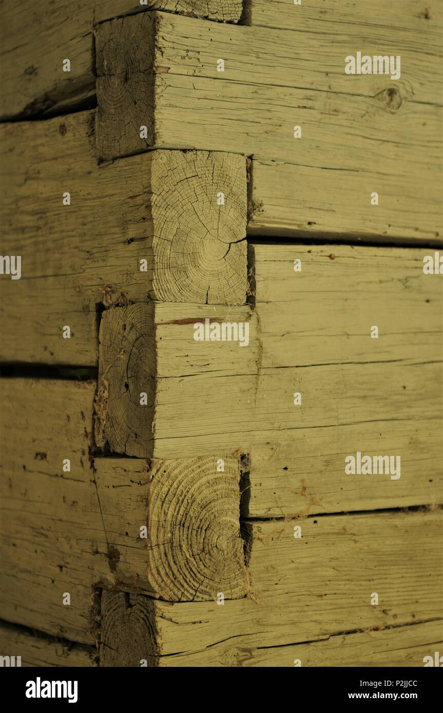 Log cabin wall with lap joints Stock Photo