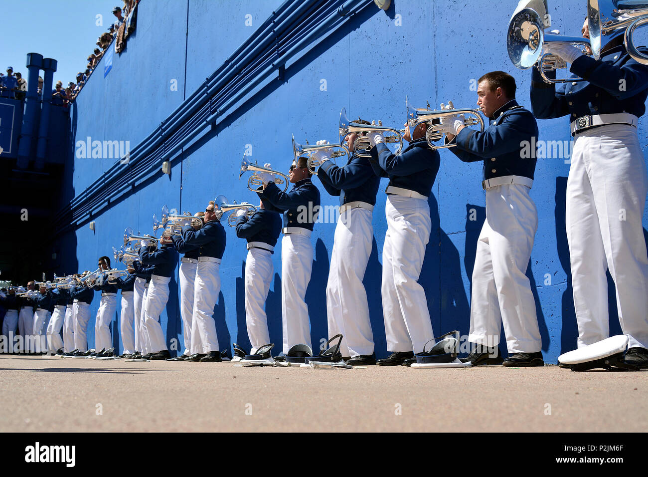 The Drum and Bugle Corps performs for fans before the Air Force vs. Virginia Military Institute football game at Falcon Stadium  at the U.S. Air Force Academy, Colo., Sept. 2, 2017. The Falcons defeated the Keydets 62-0, moving to 11-0 in season openers under head coach  Troy Calhoun.  (U.S. Air Force photo/ Jason Gutierrez) (released) - Stock Image