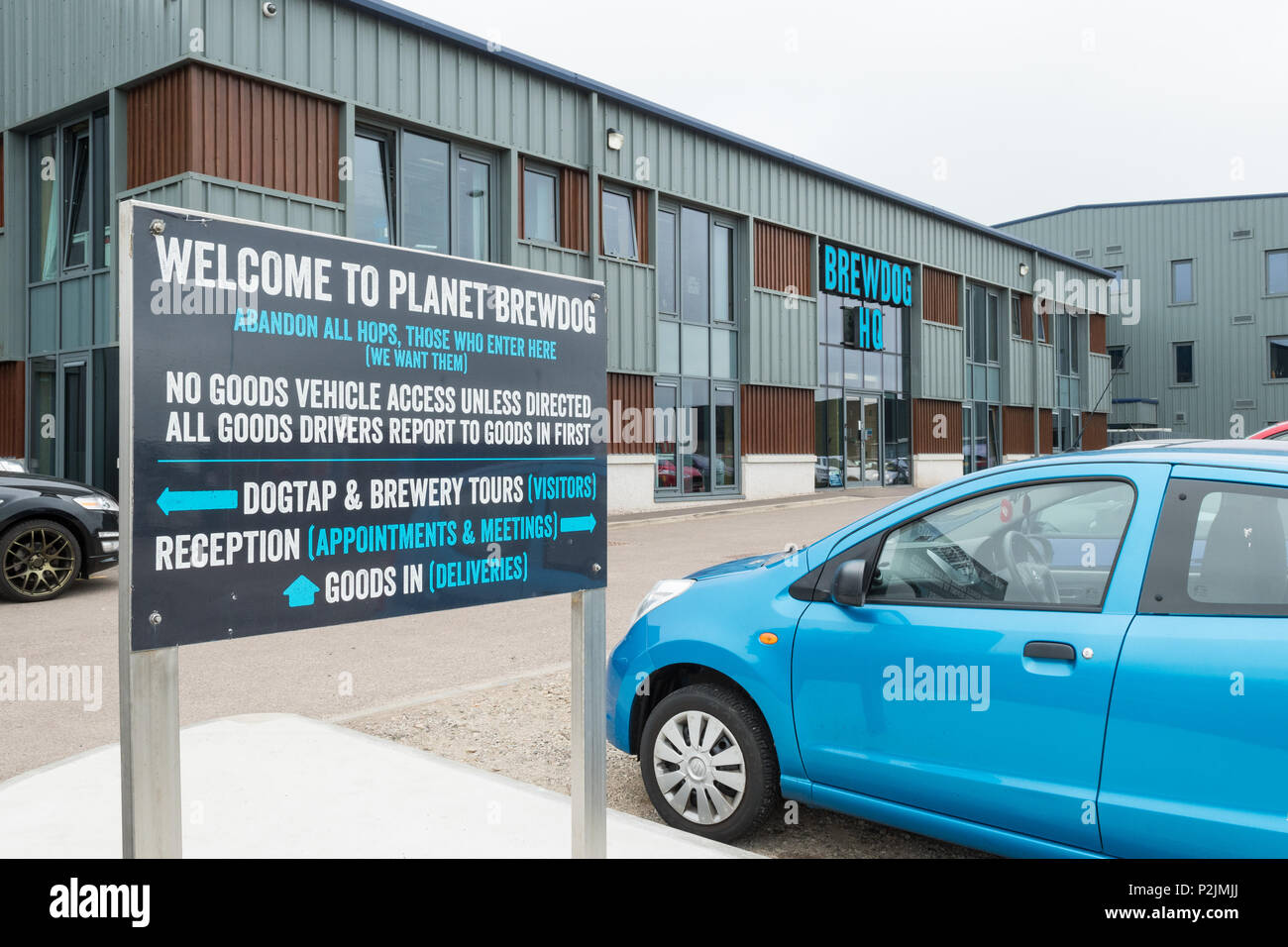 Welcome to planet brewdog sign outside BrewDog  HQ head office, Ellon, Aberdeenshire, Scotland, UK - Stock Image