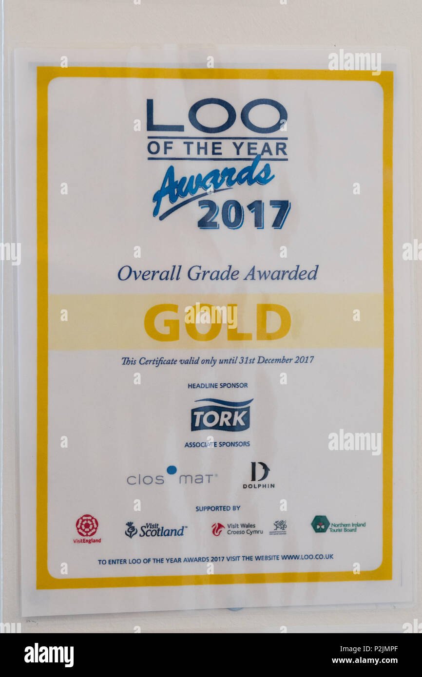 loo of the year awards gold award 2017 in public toilets in Scotland, UK - Stock Image