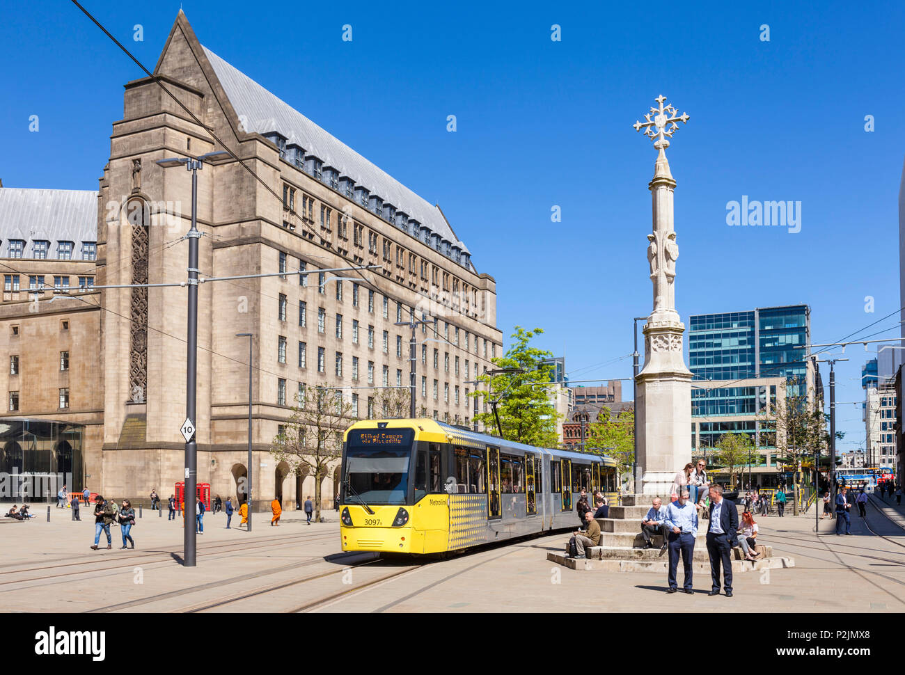 England Manchester England greater Manchester City centre city center manchester tram on st peters square manchester uk - Stock Image