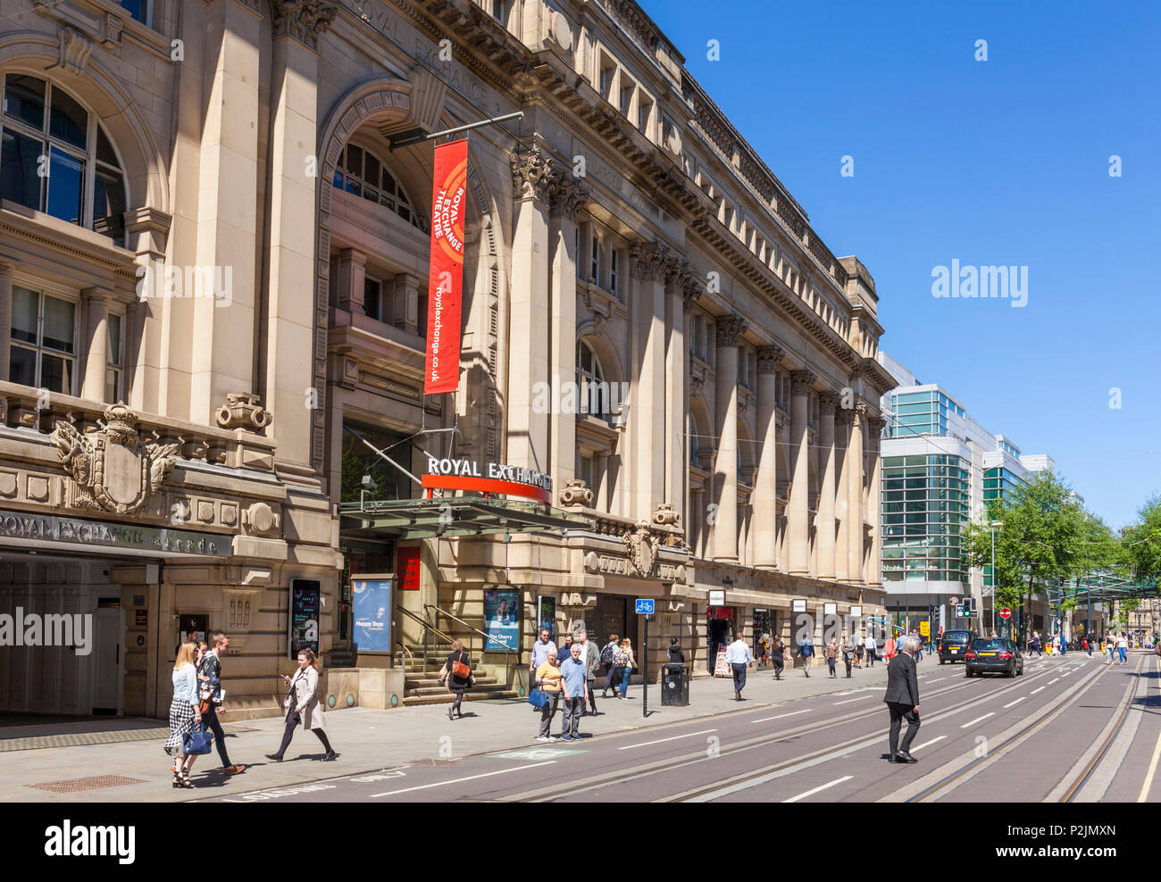 England Manchester England greater Manchester City centre Royal exchange theatre  and royal exchange arcade cross street manchester city centre  uk - Stock Image