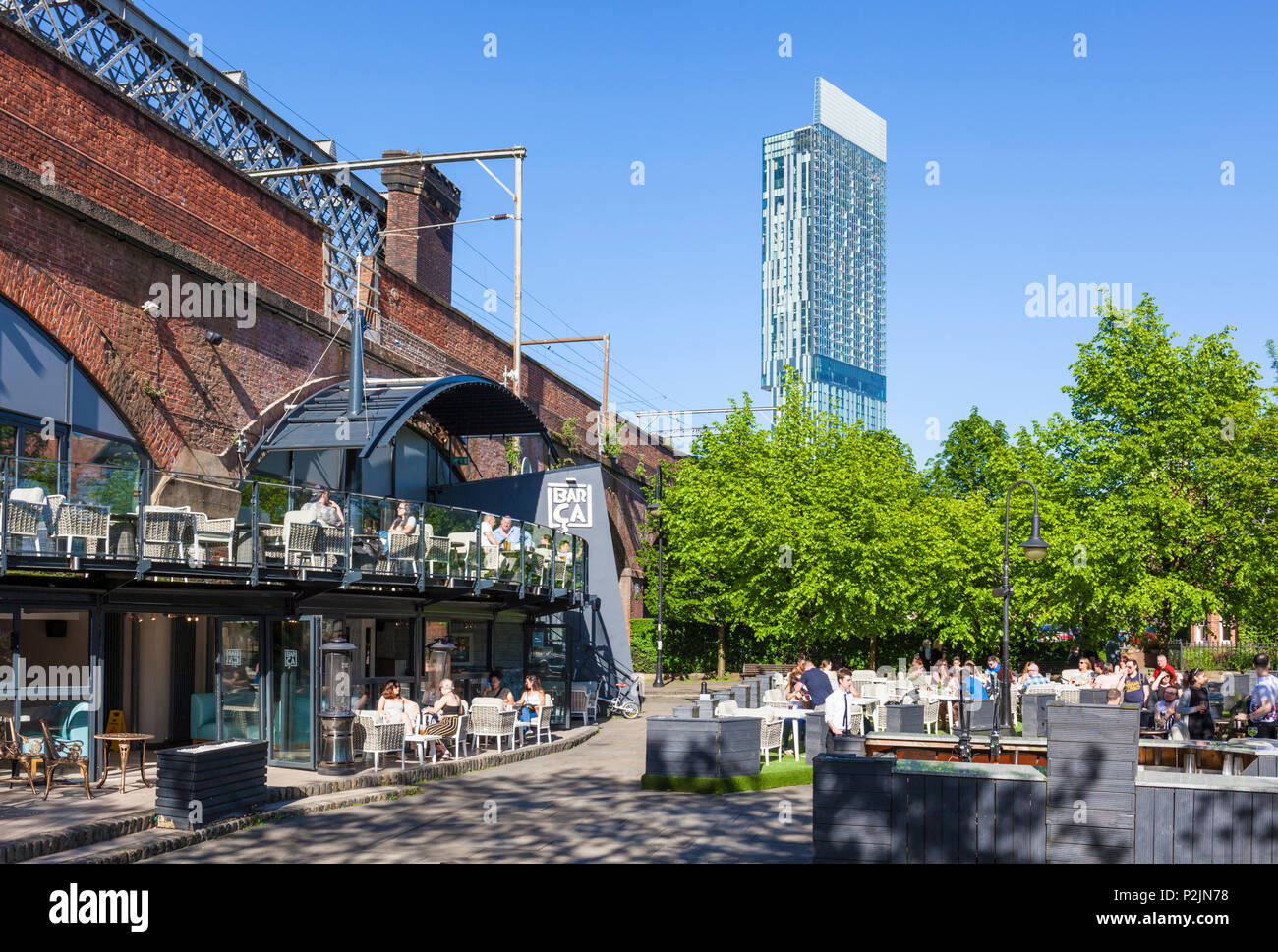 England Manchester England greater Manchester City centre city center view of the beetham tower and bridgewater canal with narrow boat manchester uk - Stock Image
