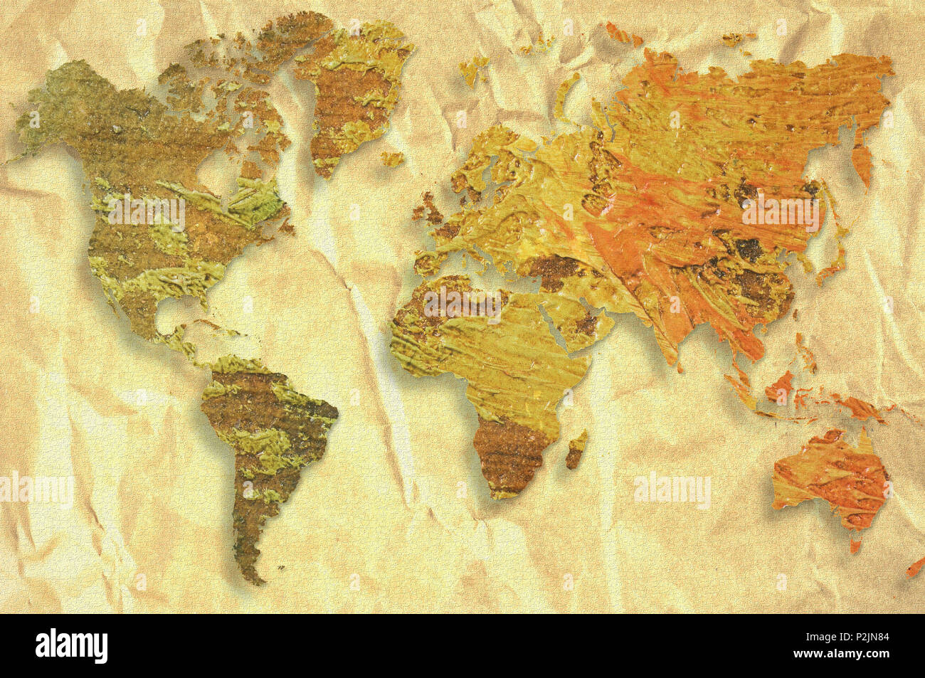 World map made with artistic oil colors on fabric background world map made with artistic oil colors on fabric background elements of this image furnished by nasa gumiabroncs Gallery