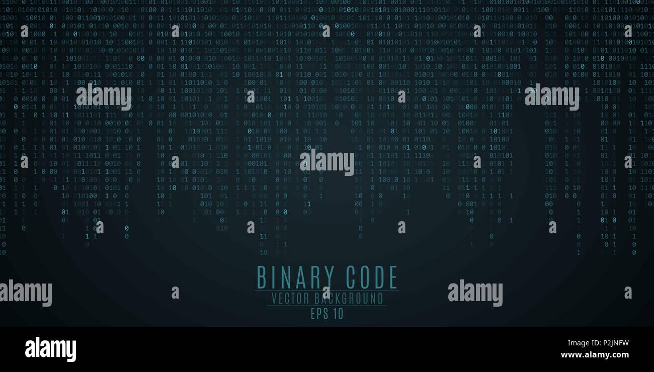 Binary code background. Blue glow. Falling figures. Global network. High technologies, programming, sci-fi. Vector illustration EPS 10 Stock Vector