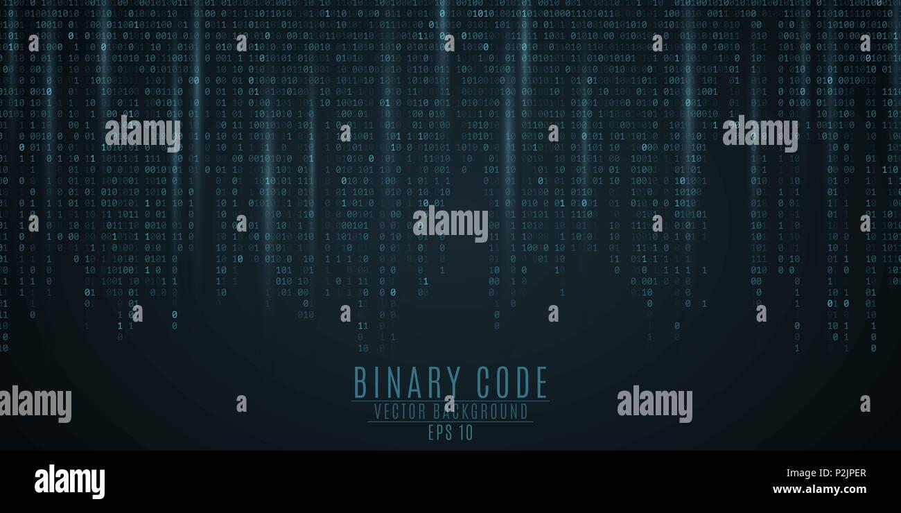 Binary code background. Blue glow. Falling figures. Blurring of figures in motion. Global network. High technologies, programming, sci-fi. Vector illu - Stock Image