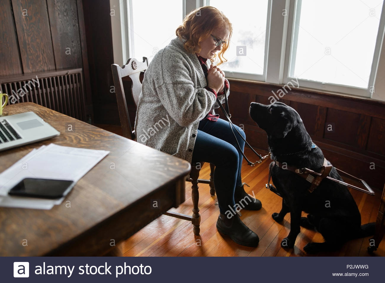 Visually impaired woman with seeing eye dog - Stock Image