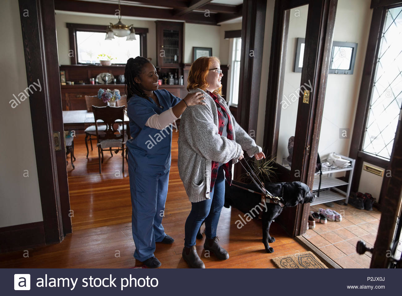 Home caregiver preparing visually impaired woman and seeing eye dog for walk - Stock Image