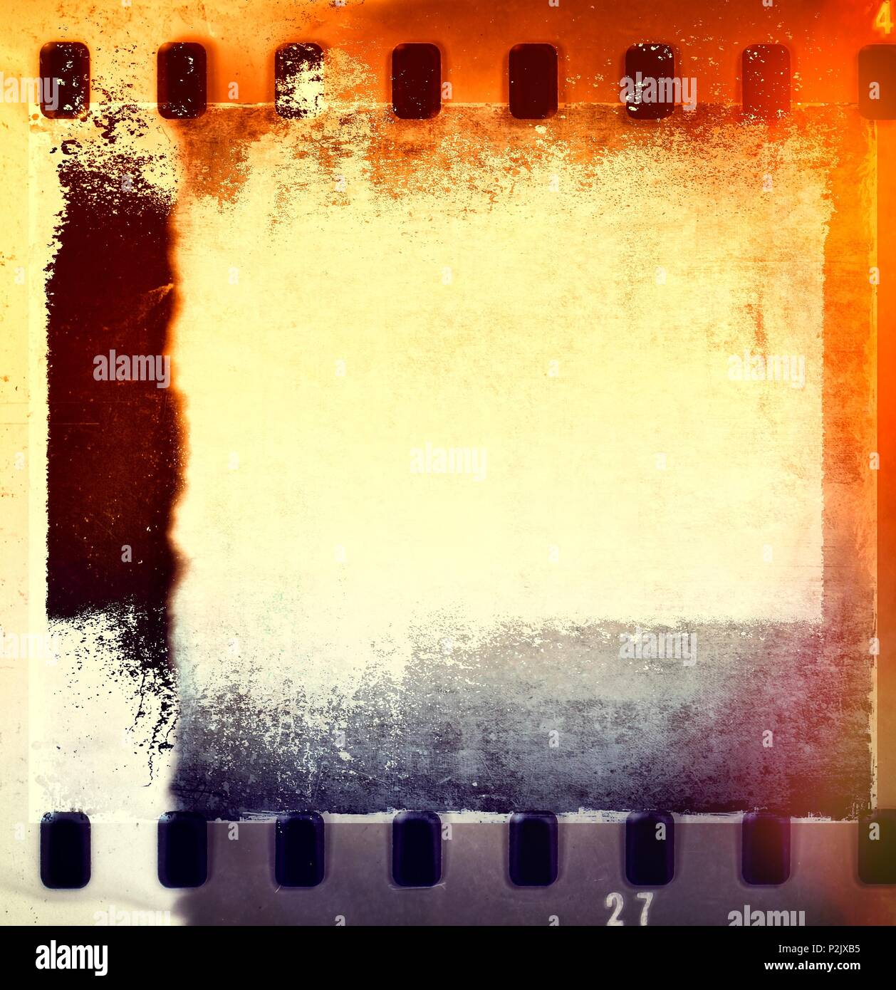 Retro film strip frames in blue and orange tones with copy space. - Stock Image