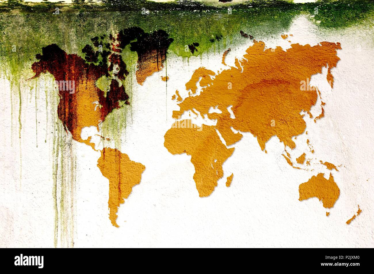 Grunge sepia dripping world map on mossy concrete wall. Elements of ...