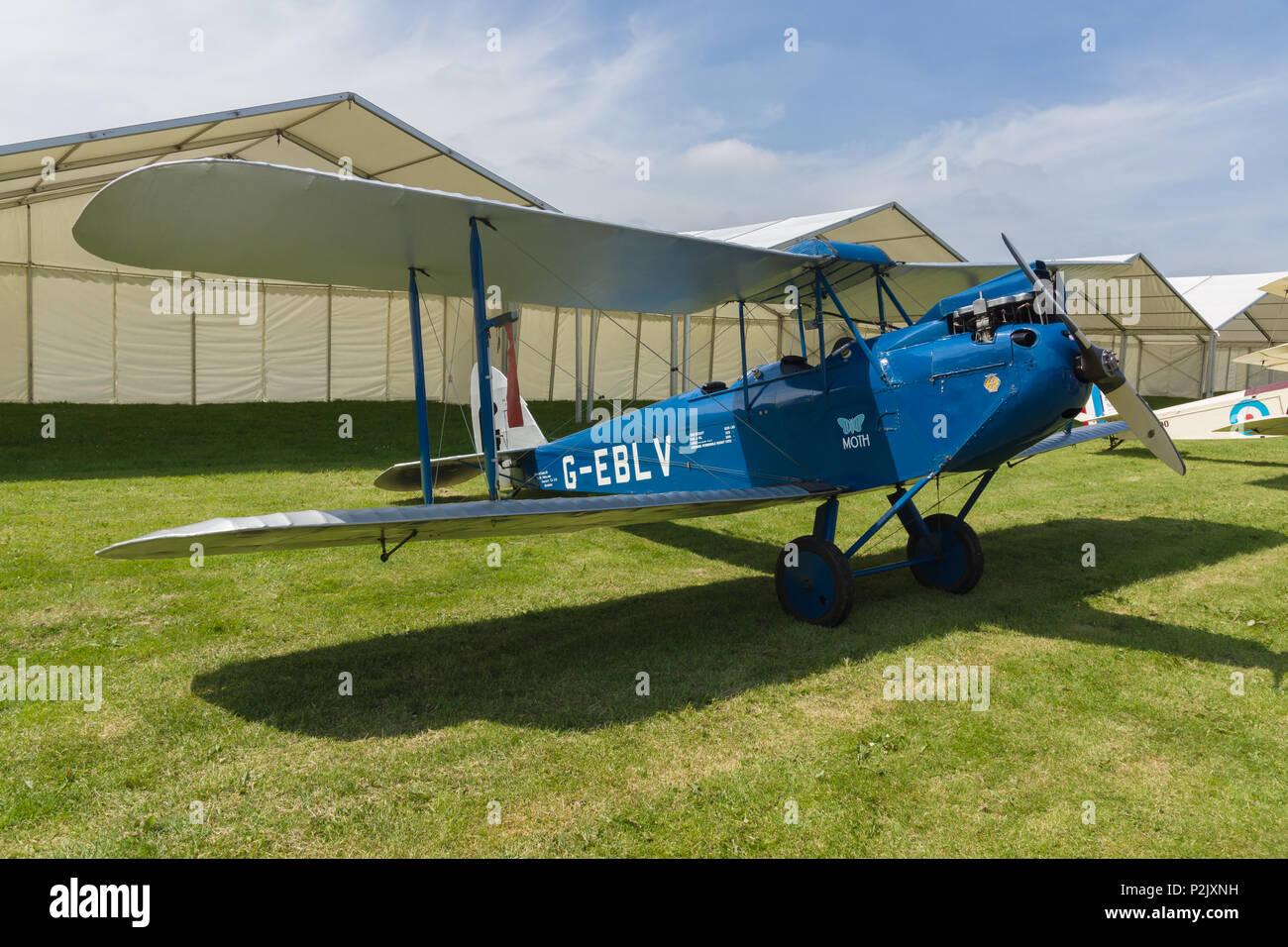 De Havilland DH60 Cirrus Moth G-EBLV a two seat propellor driven biplane. Built in 1925 as a civilian light aircraft - Stock Image