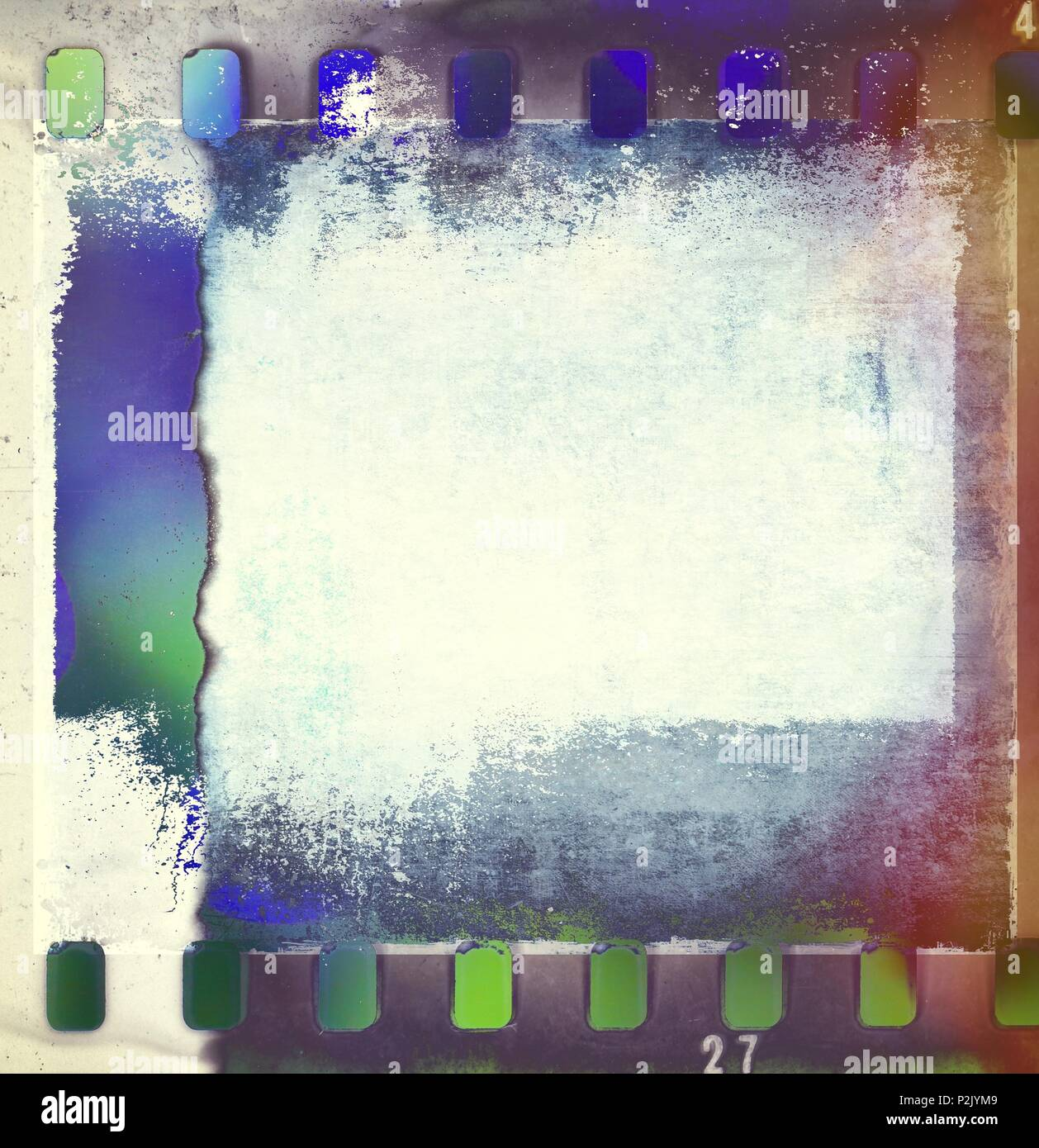 Retro film strip frames in blue and green tones with copy space. - Stock Image