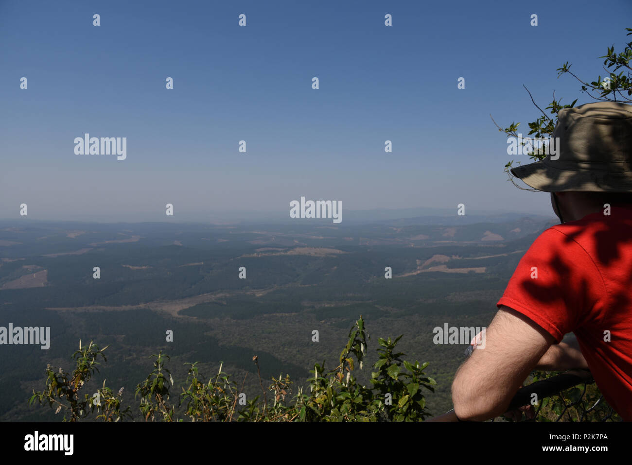 Traveler Looking Out Over God's Window, South Africa - Stock Image
