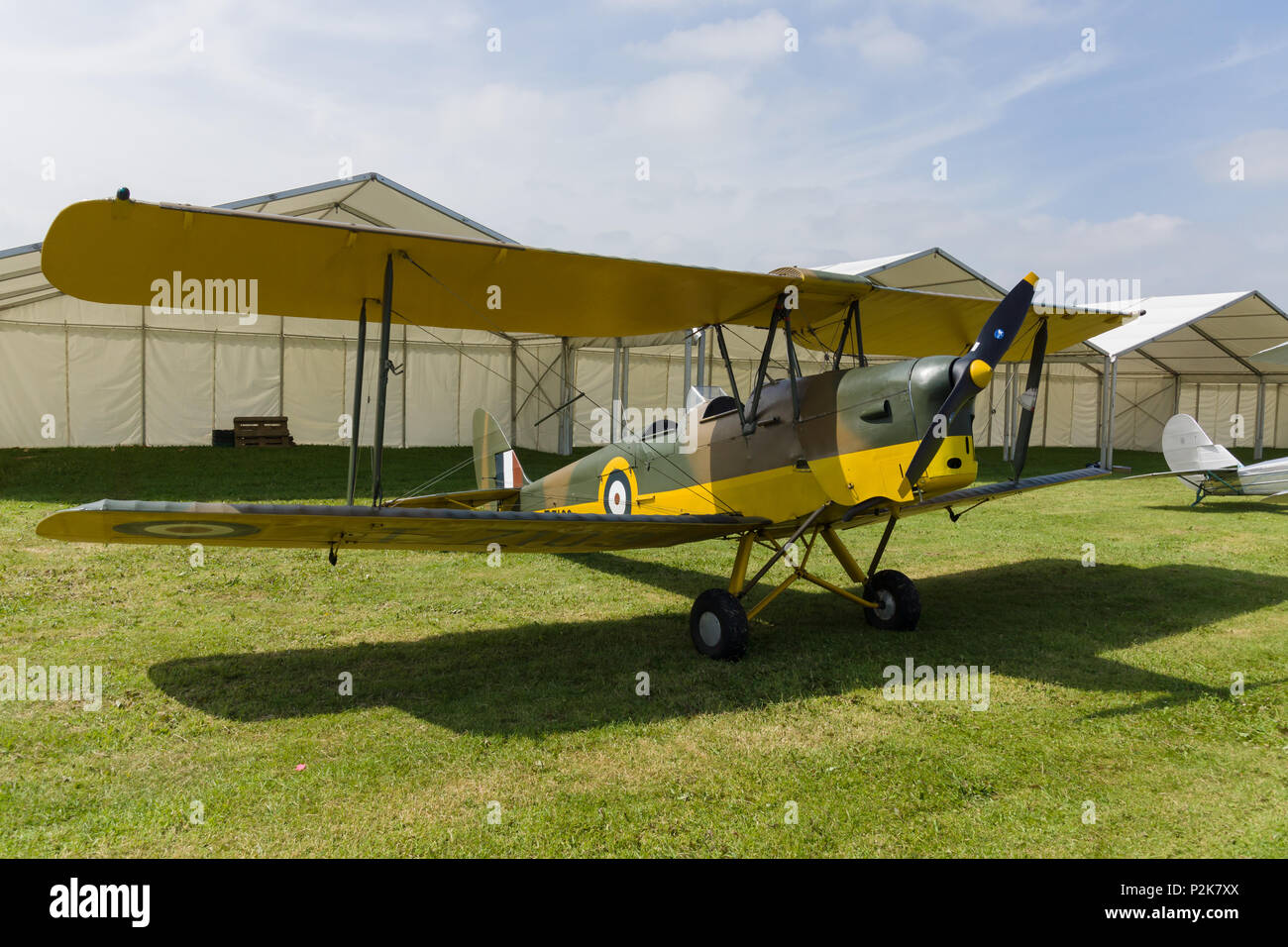 De Havilland Tiger Moth DH82 a two seat propellor driven biplane. Used as a basic training aircraft - Stock Image