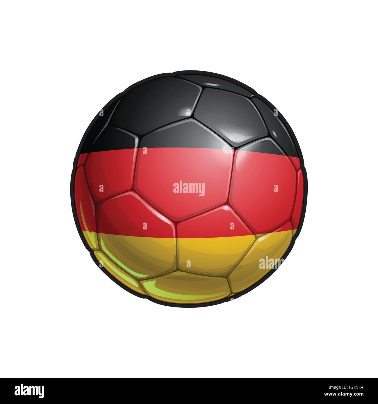 Vector Illustration of a Football – Soccer ball with the German Flag Colors. All elements neatly on well defined Layers - Stock Vector