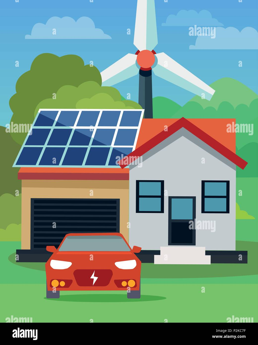 Flat vector illustration of an electric car in front of a house with solar panels and wind turbine in the background - Stock Vector