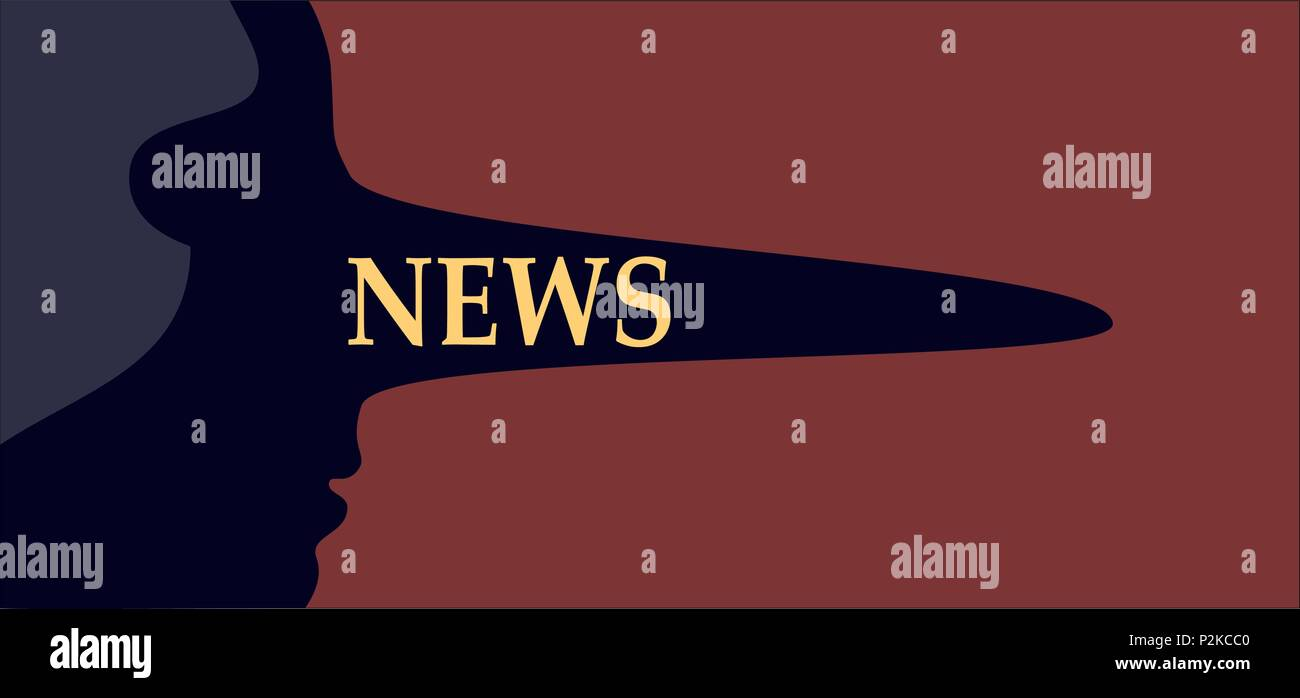 Fake news. Person with a long liar nose representing false media reporting and deceptive disinformation - Stock Vector