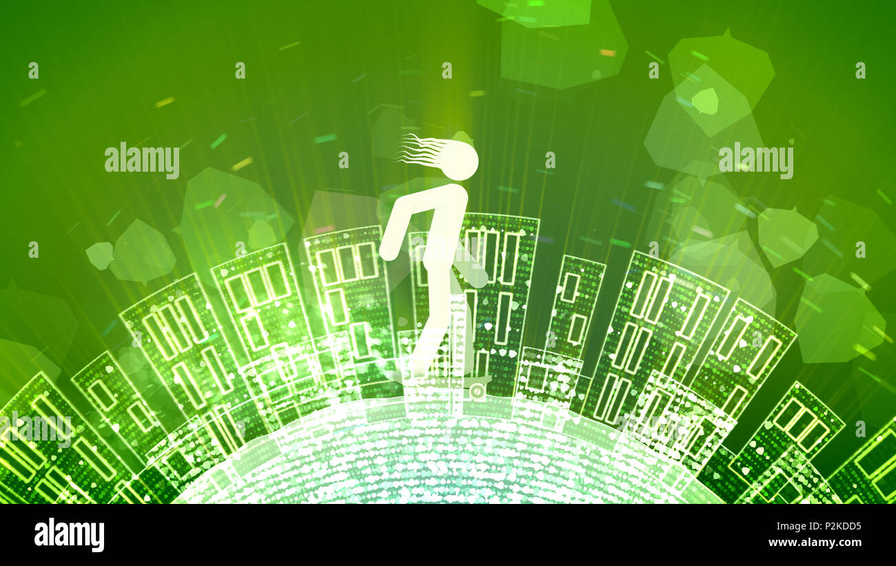 A cheery 3d rendering of an abstract young man riding a white skateboard in the green background. The Earth with high buildings and bubbles rotates un - Stock Image