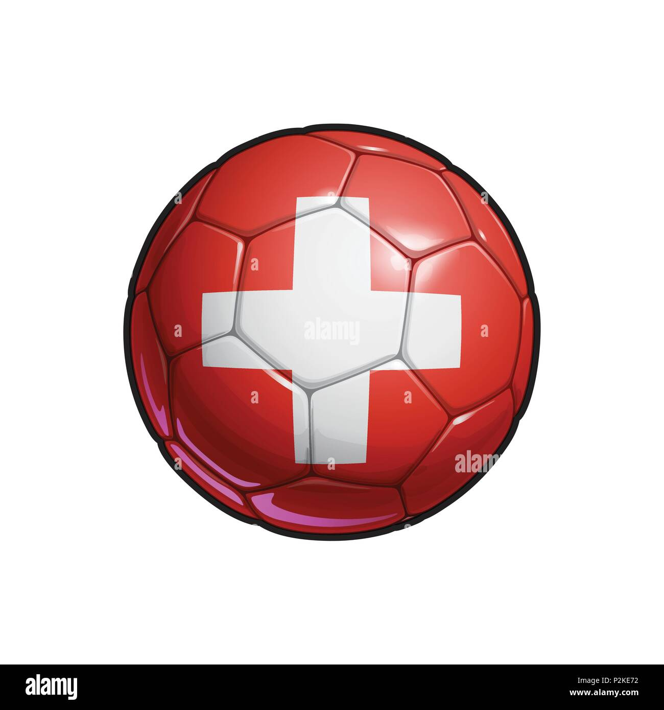 Vector Illustration of a Football – Soccer ball with the Swiss Flag Colors. All elements neatly on well defined Layers - Stock Vector