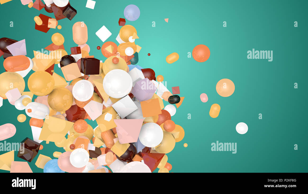 An impressive 3d illustration of random shape munsell background from balls, squares, pills, lozenges, pyramids, cubes, falling down on a chaotic heap - Stock Image