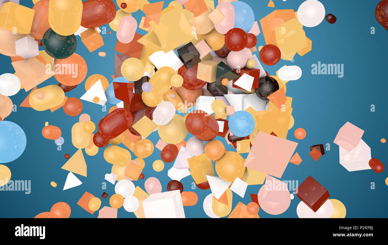 A retro 3d illustration of random shape teal background from colorful balls, squares, pills, lozenges, pyramids, cubes, falling down on a messy and ch - Stock Image