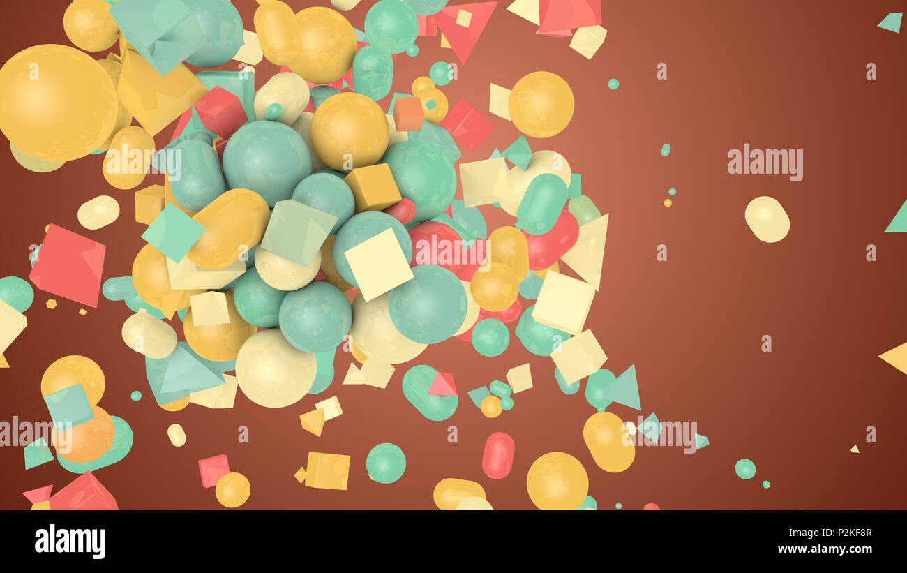 A vintage 3d illustration of random shape brown background from colorful balls, squares, pills, lozenges, pyramids, cubes, spinning and flying cheerfu - Stock Image