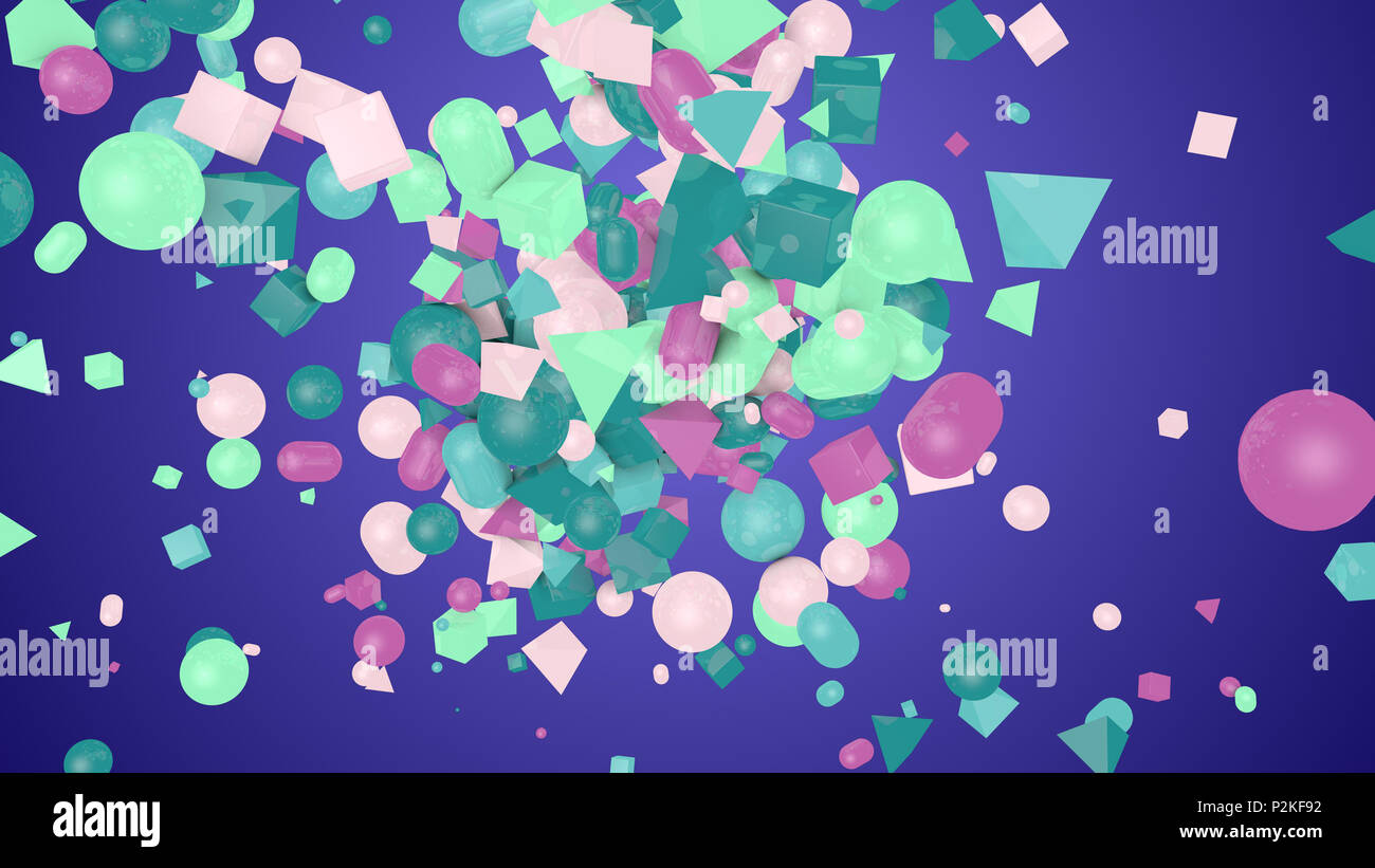 A cheerful 3d illustration of random shape violet background from colorful balls, squares, pills, lozenges, pyramids, cubes, whirling and flying optim - Stock Image