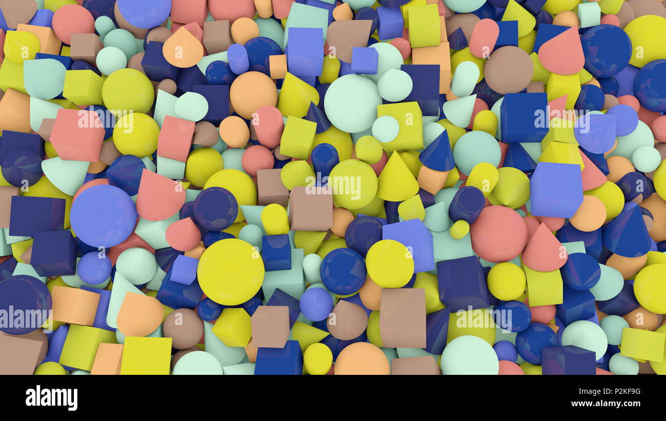 A jolly 3d illustration of casual shape background from numerous and multicolored balls, squares, pills, lozenges, pyramids, cubes, covering the whole - Stock Image
