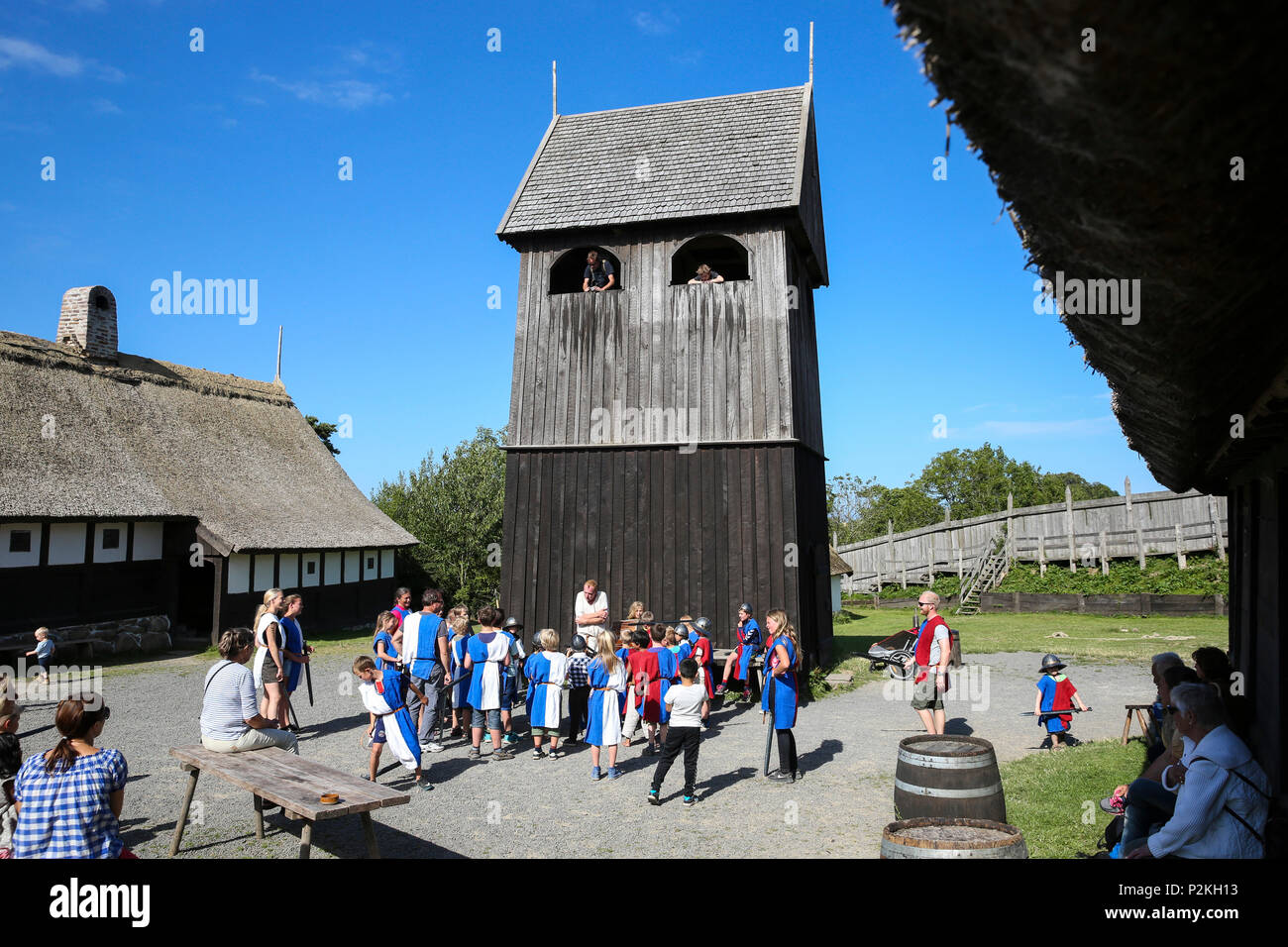 Middle Age Center, Middle Ages Village, Baltic sea, Bornholm, near Gudhjem, Denmark, Europe - Stock Image