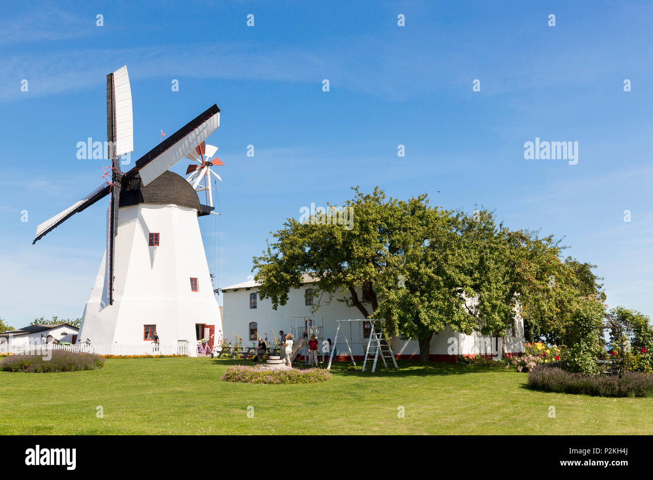 wind mill, Arsdale, Baltic sea, Bornholm, Svaneke, Denmark, Europe - Stock Image