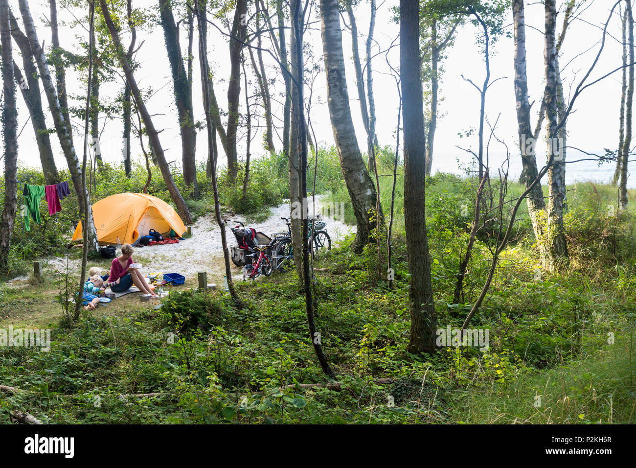 Nature campsite near the dream beach between Strandmarken und Dueodde,  tent, familiy with kids