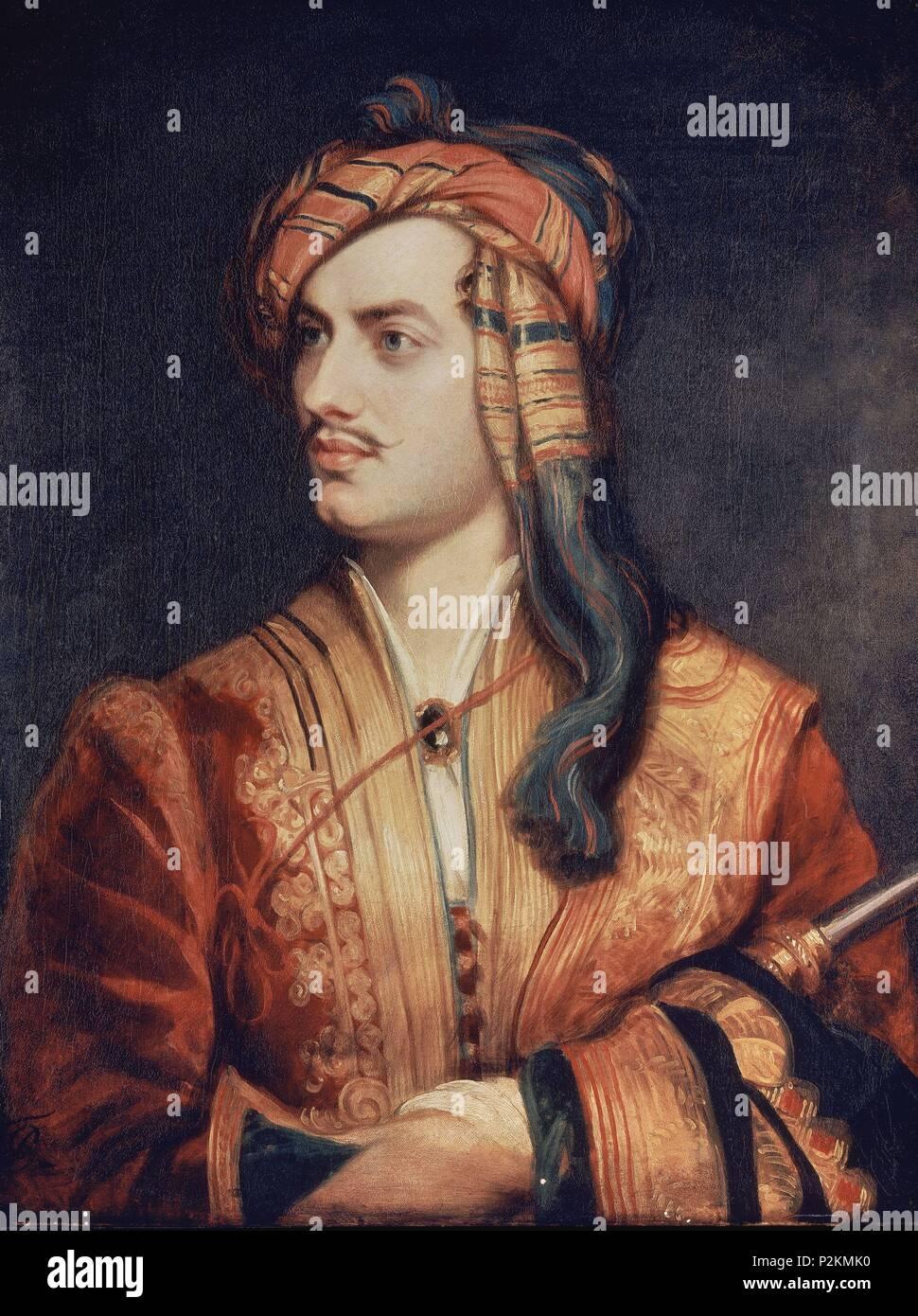 Portrait Poet Lord Byron Greek Costume Royal Historic Large Canvas Print