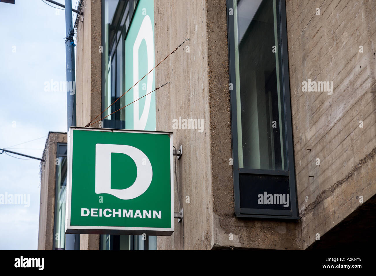 BELGRADE, SERBIA - JUNE 10, 2018: Logo of the main Deichmann store in Belgrade. Deichmann is a major German shoe and sportswear retail chain spread in - Stock Image