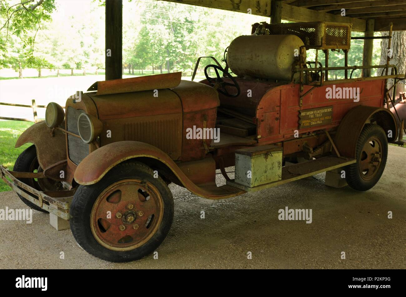 1923 Ford Model T fire truck used by the Port Gibson volunteer fire department. - Stock Image