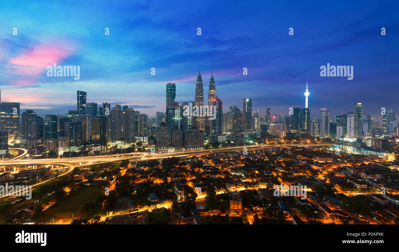 Kuala lumpur cityscape. Panoramic view of Kuala Lumpur city skyline during sunrise viewing skyscrapers building and in Malaysia. Stock Photo