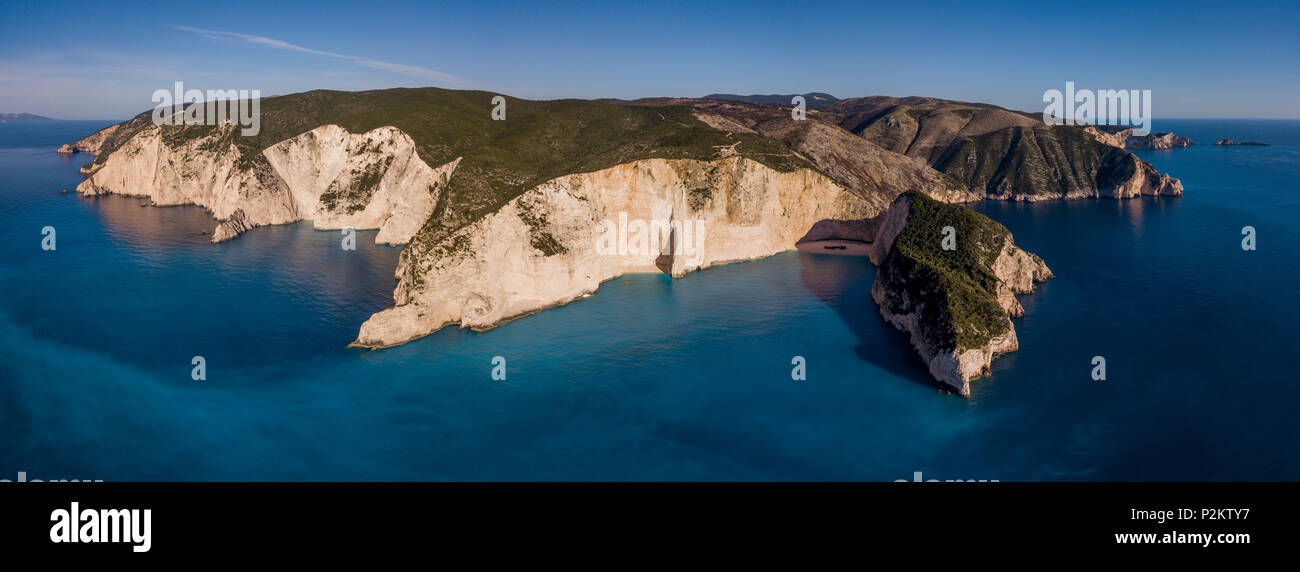 Aerial view of Navagio or Shipwreck Beach on the coast of Zakynthos, in the Ionian Islands of Greece Stock Photo