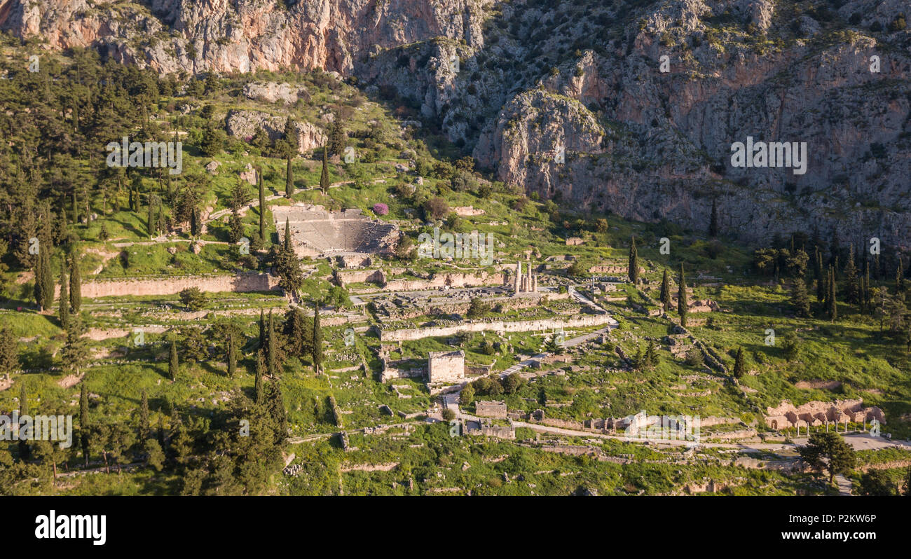 Aerial view of Ancient Delphi, the famous sanctuary located in the ancient region of Phocis in Central Greece Stock Photo