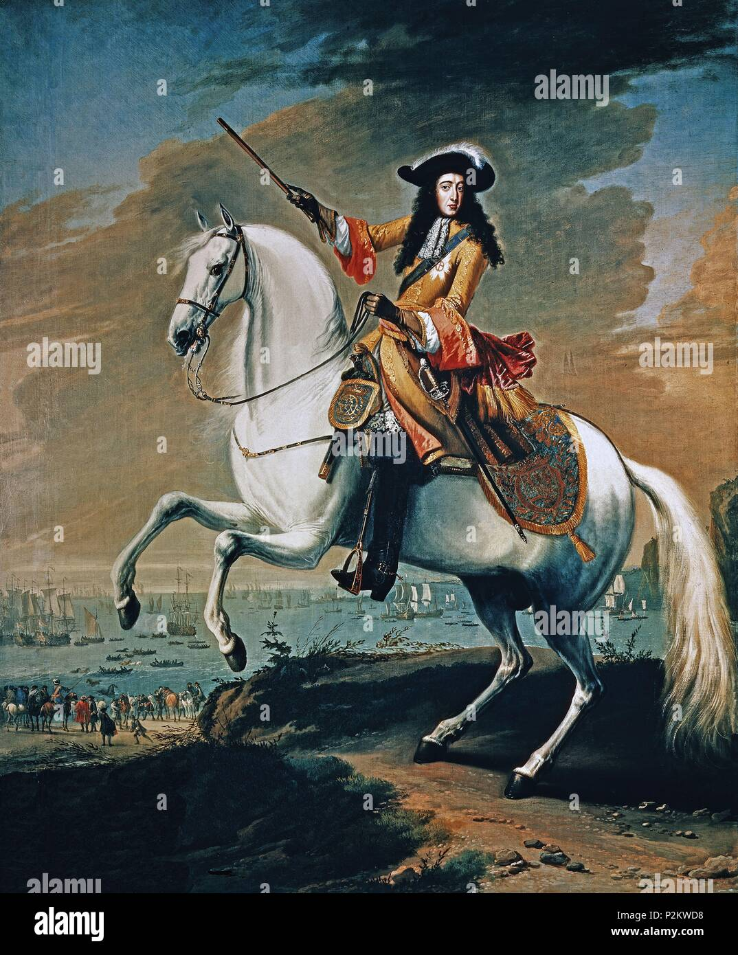 'Equestrian portrait of William III of England', 1688, Oil on canvas. Author: Jan Wyck (c. 1644-1702). Location: NATIONAL MARITIME MUSEUM, GREENWICH, ENGLAND. - Stock Image